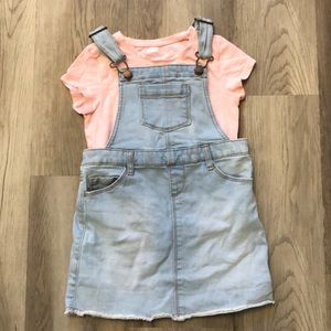 ON 5T overall dress with pink tee
